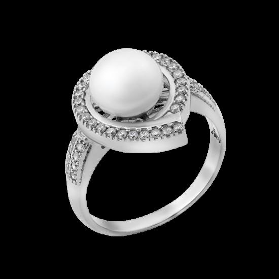Серебряное кольцо с жемчугом Шелл ЛК-0141