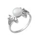 Серебряное кольцо с жемчугом Бабочки  ЛК-0142