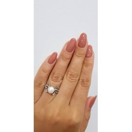 Серебряное кольцо с жемчугом Бабочки