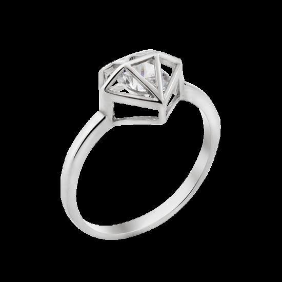 Серебряное кольцо с одним камнем Бриллиант ЛК-0145