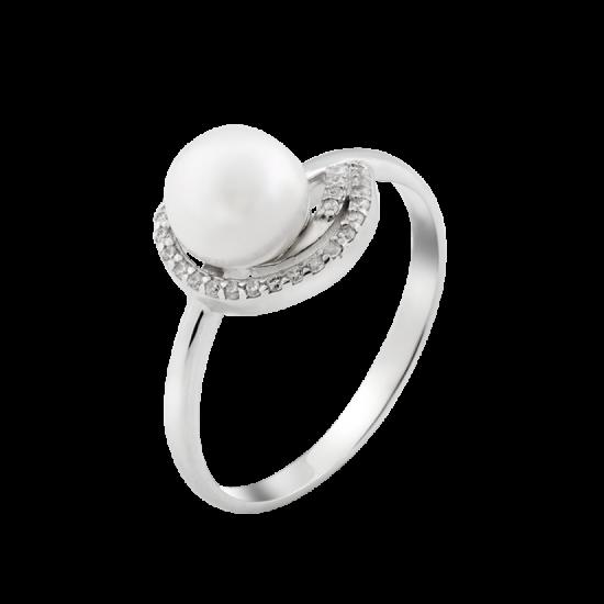 Серебряное кольцо с жемчугом Тропики ЛК-0147
