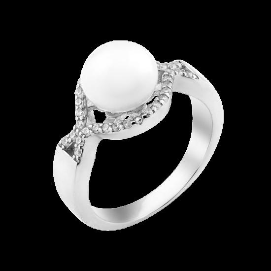 Кольцо серебряное с жемчугом Коралл