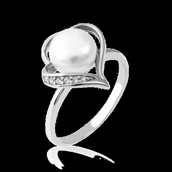 Кольцо серебряное с жемчугом Тропический Лепесток ЛК-0152