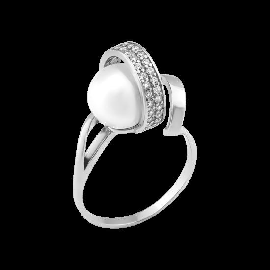 Серебряное кольцо Спираль с жемчугом и фианитами ЛК-0155р