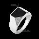 Мужское серебряное кольцо перстень с черным ониксом и белыми фианитами День и Ночь ЛК-0187