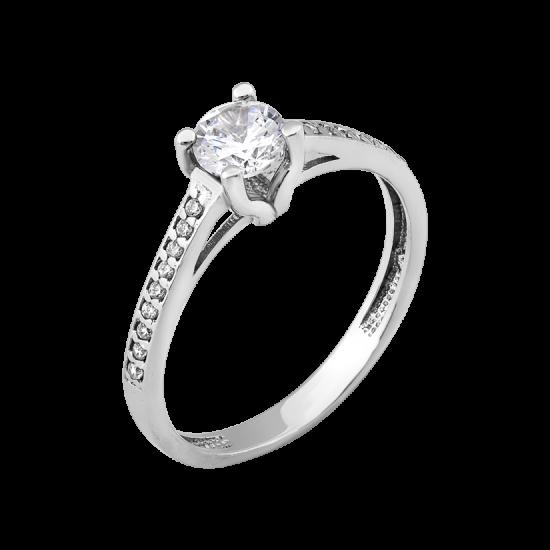 Серебряное кольцо заручальное с фианитом посередине и россыпью по бокам ЛК-0188р