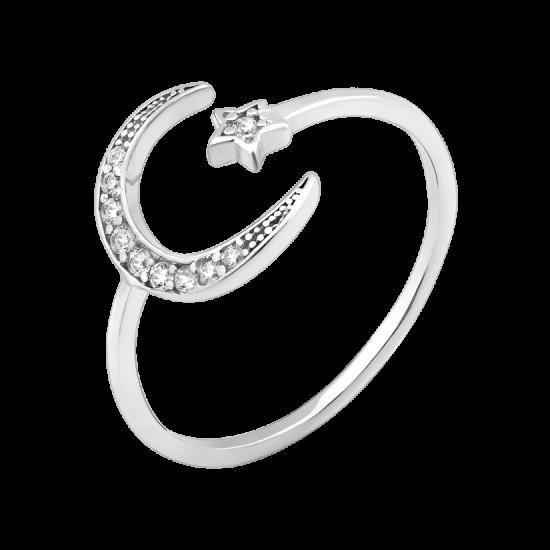 Серебряное кольцо Утренняя звезда с маленькими фианитами ЛК-0195р
