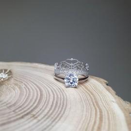 Серебряное кольцо двойное Индира