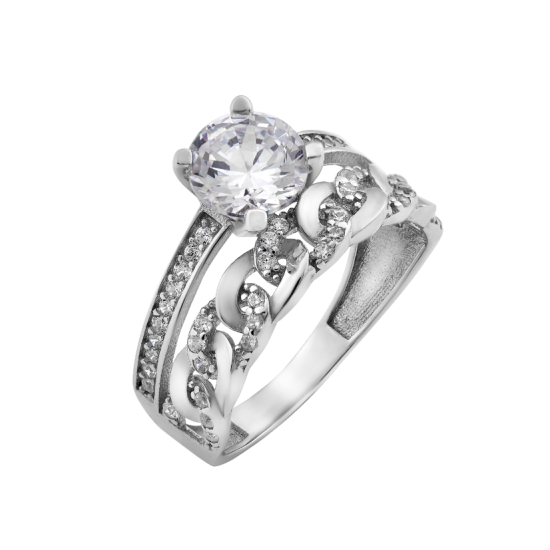 Серебряное кольцо двойное Сирена ЛК-0202