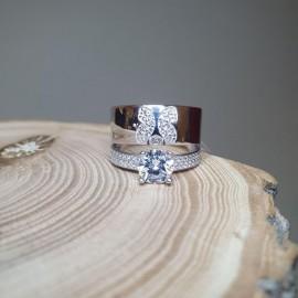 Кольцо двойное с Серебряной Бабочкой
