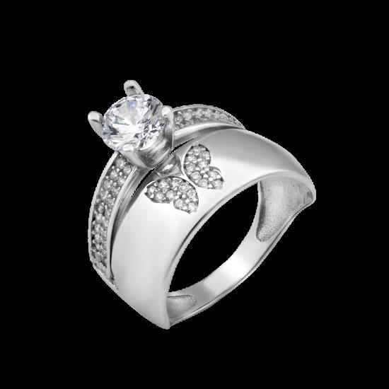 Кольцо двойное с Серебряной Бабочкой ЛК-0203