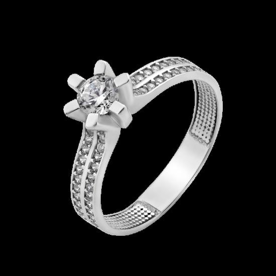 Серебряное кольцо с одним камнем Валенсия ЛК-0209