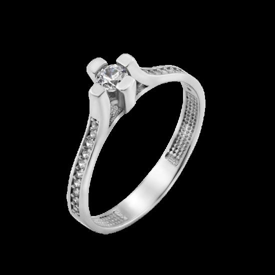 Серебряное кольцо с одним камнем Канны ЛК-0211