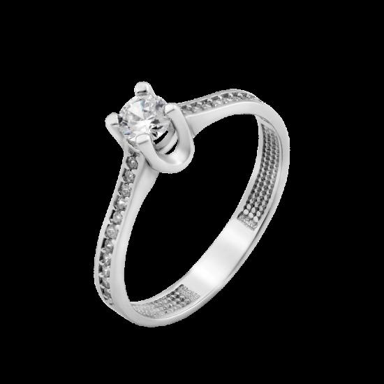 Серебряное кольцо с одним камнем Ницца ЛК-0212