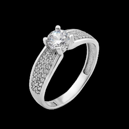 Серебряное кольцо с одним камнем Леди ЛК-0217