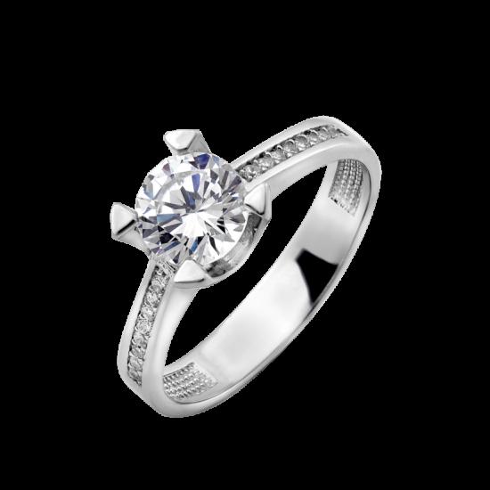Серебряное кольцо с одним камнем Агния ЛК-0218