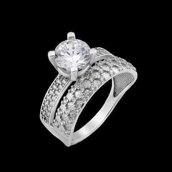 Серебряное кольцо двойное Рэя ЛК-0222