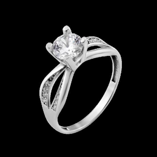 Серебряное кольцо с одним камнем Атланта ЛК-0233