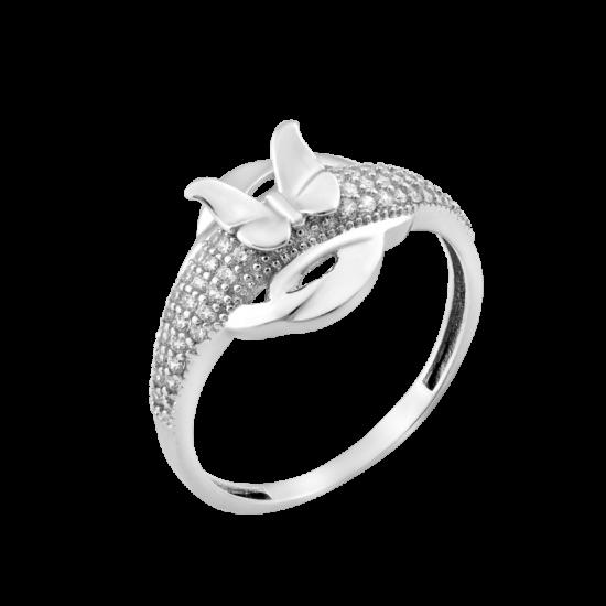 Серебряное кольцо Бабочка на лугу ЛК-0235