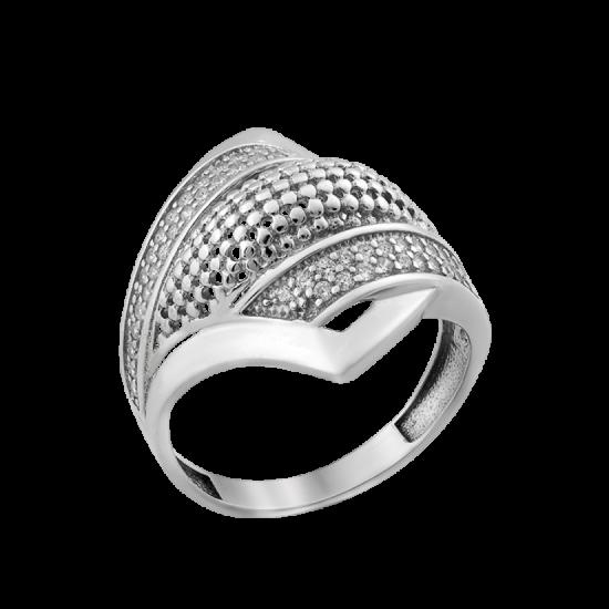 Каблучка срібна фьюжин Діагональ ЛК-0237