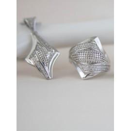 Серебряное кольцо фьюжин Диагональ