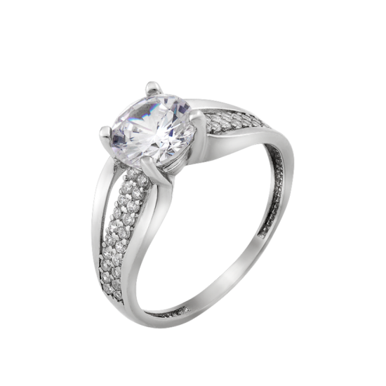 Серебряное кольцо с одним камнем Баланс ЛК-0238