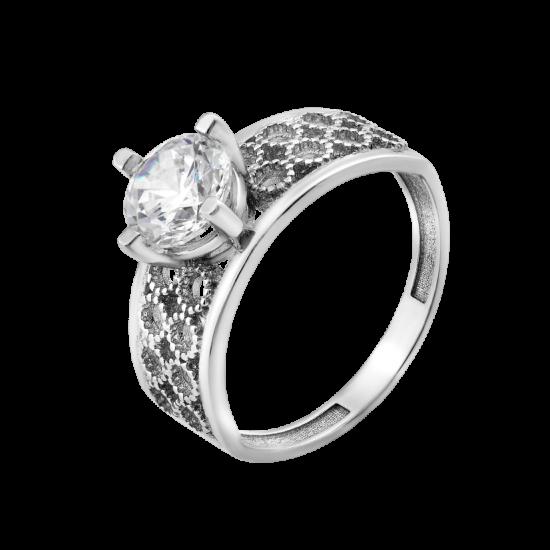Серебряное кольцо с одним камнем Сферы ЛК-0239