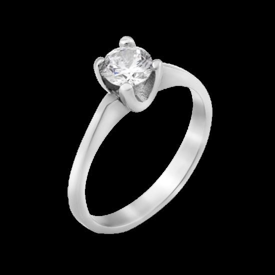 Серебряное кольцо с одним камнем Классик ЛК-0240