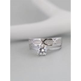 Серебряное кольцо двойное Магнолия