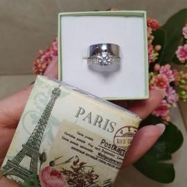 Серебряное кольцо двойное Элит