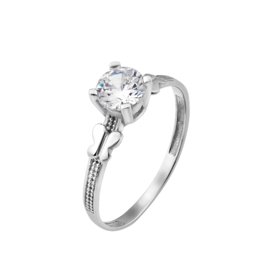 Серебряное кольцо с одним камнем Две Бабочки ЛК-0251