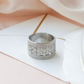 Серебряное кольцо широкое Брызги Шампанского