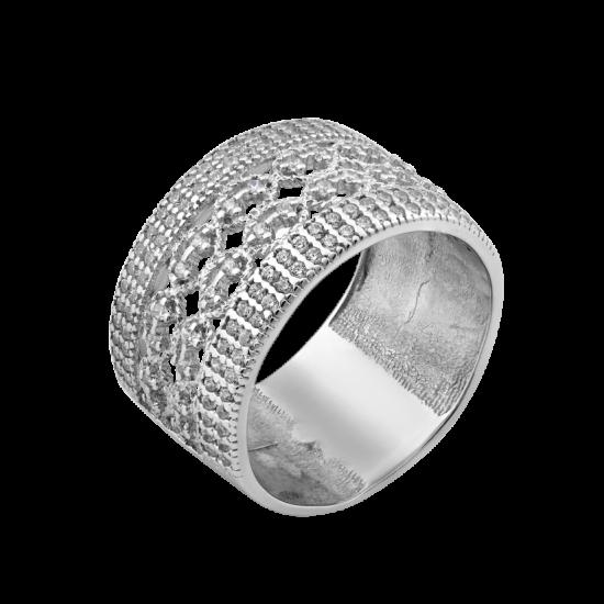 Серебряное кольцо широкое Брызги Шампанского ЛК-0252