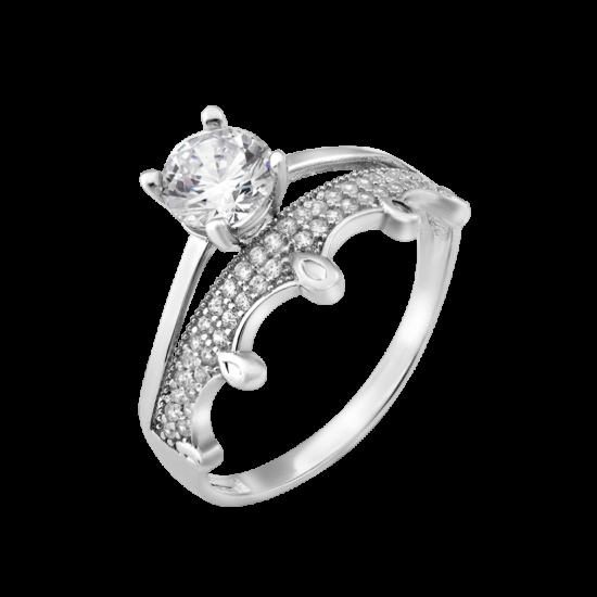 Серебряное кольцо двойное с Короной ЛК-0260