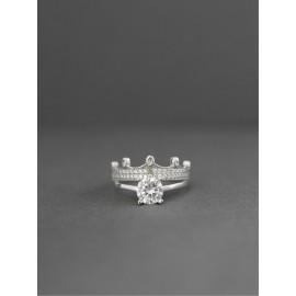 Серебряное кольцо двойное с Короной