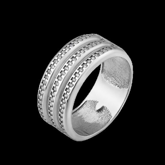 Серебряное кольцо широкое Трио ЛК-0261