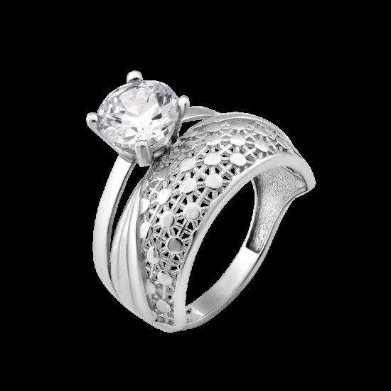 Серебряное кольцо двойное Паутинка ЛК-0265