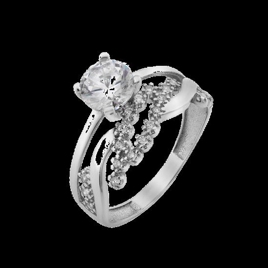 Серебряное кольцо двойное Блестящий Листочек ЛК-0267