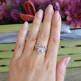 Серебряное кольцо двойное Ажурная Лента