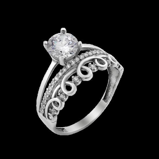 Серебряное кольцо двойное Ажурная Лента ЛК-0291