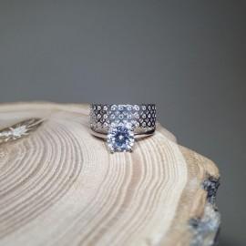Серебряное кольцо двойное Нежный Блеск