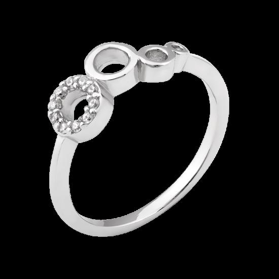 Серебряное кольцо Пузырьки с маленькими фианитами по кругу ЛК-0302р