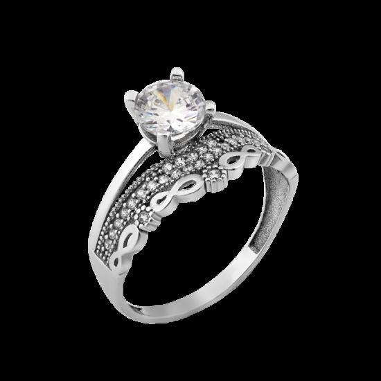 Серебряное кольцо двойное Диадема ЛК-0290