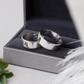 Обручальное кольцо серебряное классическое широкое