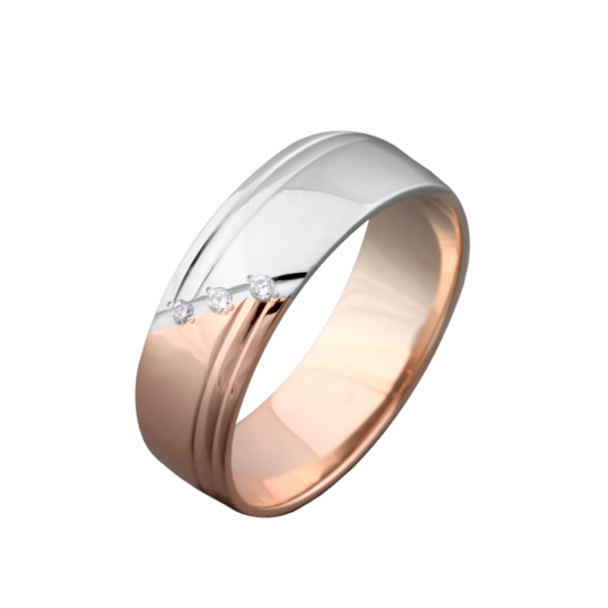 Обручальное кольцо золотое с камнями ОЗ-2104ф